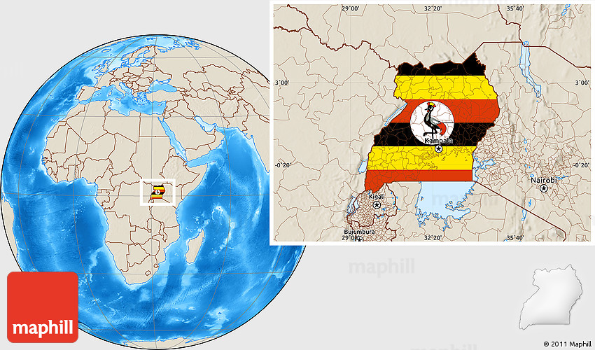 Flag Location Map of Uganda shaded relief outside