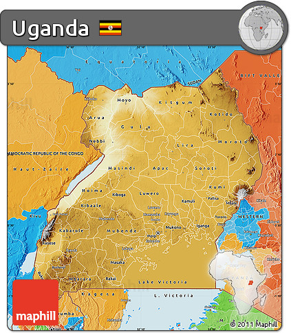 Free Physical Map of Uganda political outside