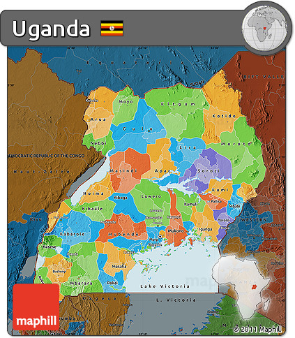 Free Political Map of Uganda darken