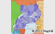 Political Shades Map of Uganda