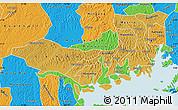 Physical Map of Mpigi, political outside
