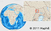 Shaded Relief Location Map of Padyere