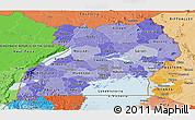 Political Shades Panoramic Map of Uganda