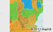 Physical Map of Rakai, political outside
