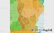 Physical Map of Rakai, political shades outside