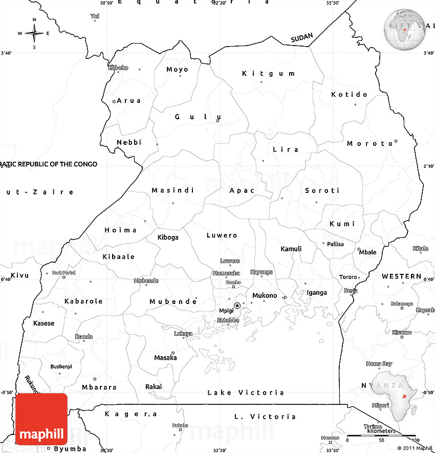 Blank Simple Map Of Uganda - Uganda map