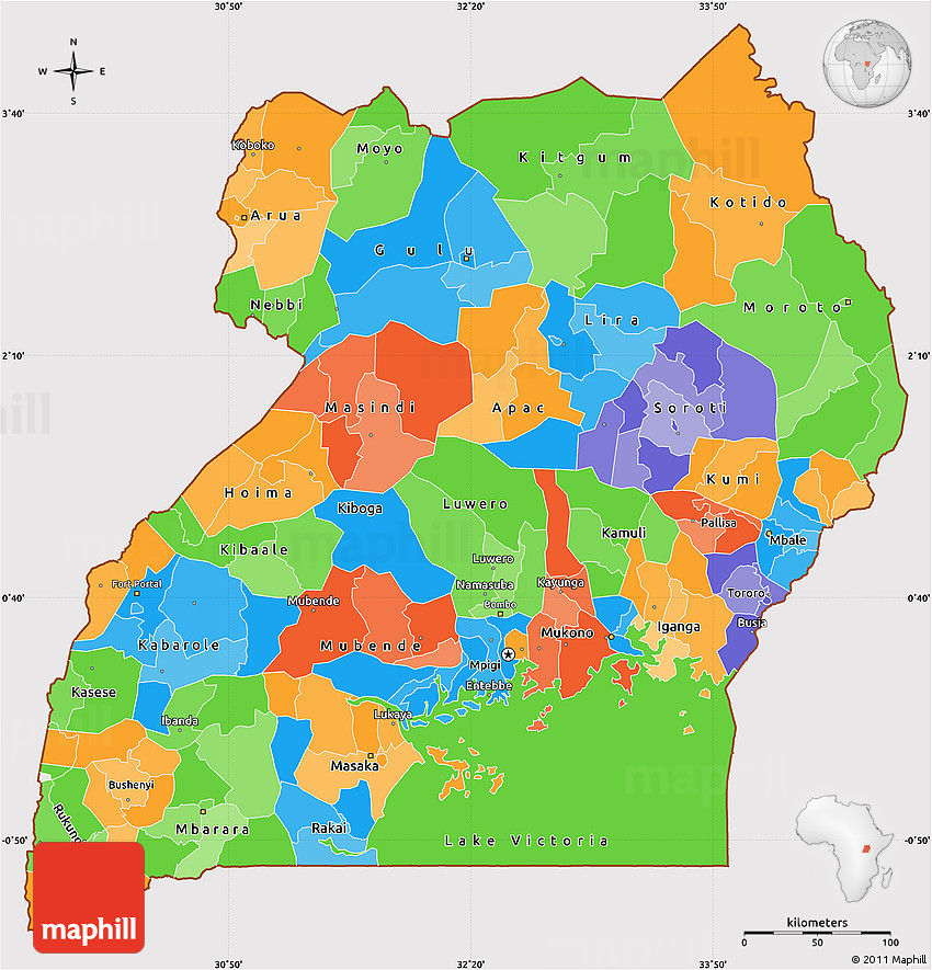 Political Simple Map Of Uganda Cropped Outside - Map of uganda