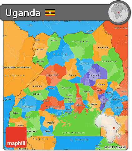 Free Political Simple Map of Uganda