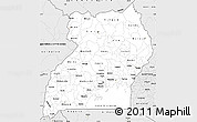 Silver Style Simple Map of Uganda
