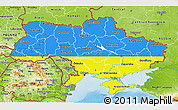 Flag 3D Map of Ukraine, physical outside