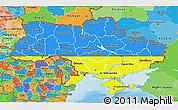 Flag 3D Map of Ukraine, political outside