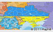 Flag 3D Map of Ukraine, political shades outside