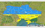 Flag 3D Map of Ukraine, satellite outside