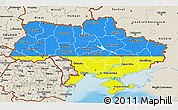 Flag 3D Map of Ukraine, shaded relief outside