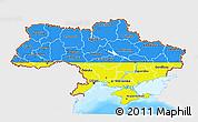 Flag 3D Map of Ukraine, single color outside, bathymetry sea