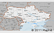 Gray 3D Map of Ukraine