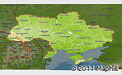 Physical 3D Map of Ukraine, darken