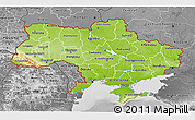 Physical 3D Map of Ukraine, desaturated
