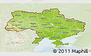 Physical 3D Map of Ukraine, lighten