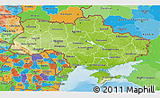 Physical 3D Map of Ukraine, political outside, shaded relief sea