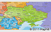 Physical 3D Map of Ukraine, political shades outside, shaded relief sea