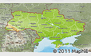 Physical 3D Map of Ukraine, semi-desaturated, land only
