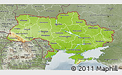 Physical 3D Map of Ukraine, semi-desaturated