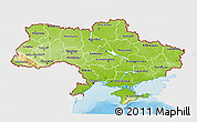 Physical 3D Map of Ukraine, single color outside