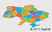 Political 3D Map of Ukraine, cropped outside