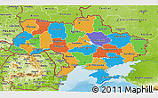 Political 3D Map of Ukraine, physical outside