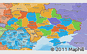 Political 3D Map of Ukraine, political shades outside
