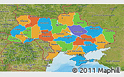 Political 3D Map of Ukraine, satellite outside, bathymetry sea