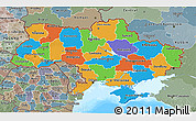 Political 3D Map of Ukraine, semi-desaturated, land only