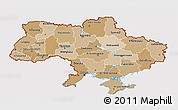 Political Shades 3D Map of Ukraine, cropped outside