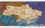 Political Shades 3D Map of Ukraine, darken