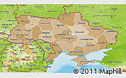 Political Shades 3D Map of Ukraine, physical outside