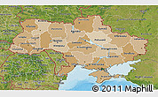 Political Shades 3D Map of Ukraine, satellite outside, bathymetry sea