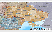 Political Shades 3D Map of Ukraine, semi-desaturated, land only
