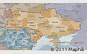Political Shades 3D Map of Ukraine, semi-desaturated