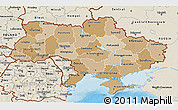 Political Shades 3D Map of Ukraine, shaded relief outside, bathymetry sea