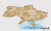 Political Shades 3D Map of Ukraine, single color outside