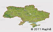 Satellite 3D Map of Ukraine, cropped outside