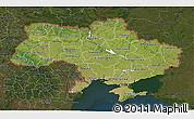 Satellite 3D Map of Ukraine, darken