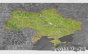 Satellite 3D Map of Ukraine, desaturated