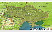 Satellite 3D Map of Ukraine, physical outside, satellite sea