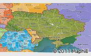 Satellite 3D Map of Ukraine, political shades outside, satellite sea