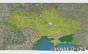 Satellite 3D Map of Ukraine, semi-desaturated, land only
