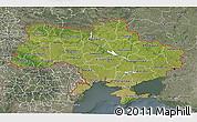 Satellite 3D Map of Ukraine, semi-desaturated
