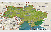 Satellite 3D Map of Ukraine, shaded relief outside, satellite sea