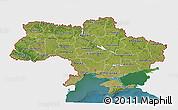 Satellite 3D Map of Ukraine, single color outside